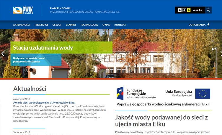 Strona internetowa Ełk PWiK